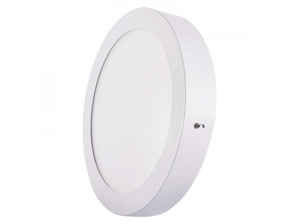 LED panel 18 W, krytí IP20 - pro vnitřní prostředí, rozměry:průměr 224 × 40 mm, náhrada za žárovku 100 W, svítivost 1 500 lm, 3 000 K, barva světla teplá bílá, kruhové svítidlo přisazené, materiál hliník/plast, bez PIR senzoru
