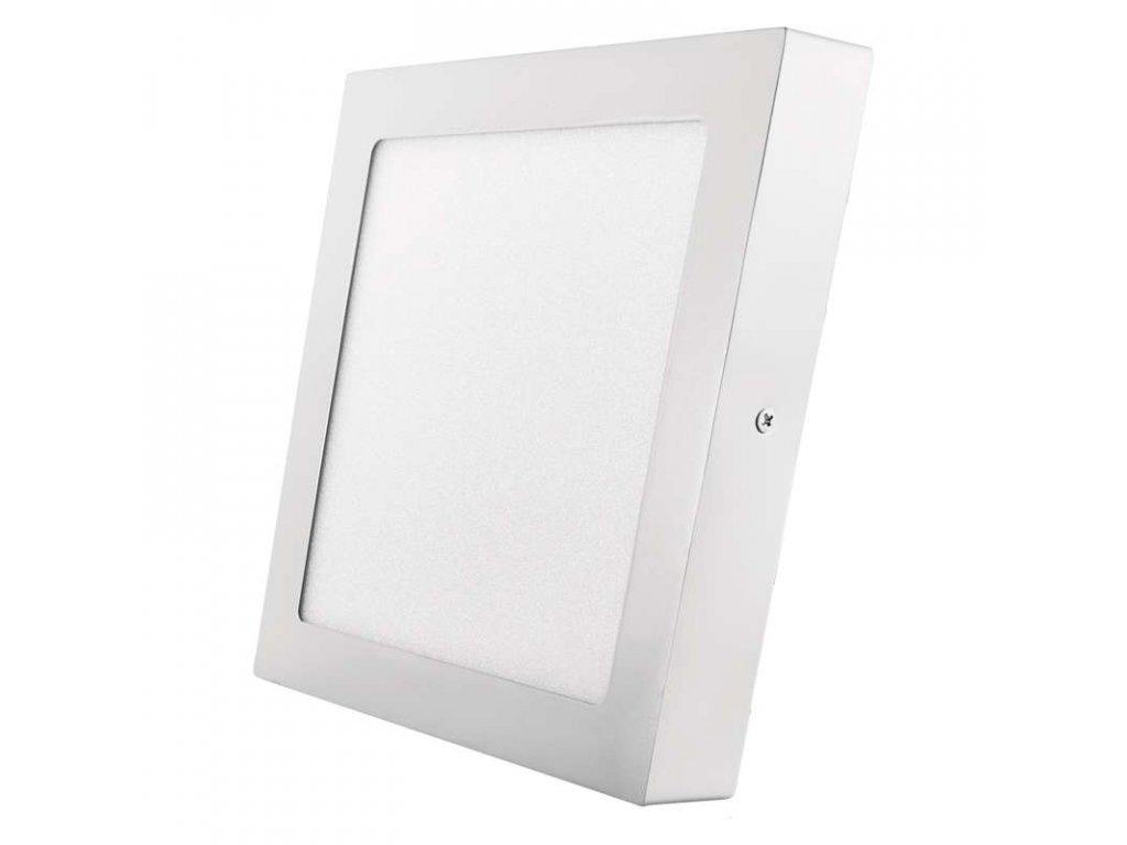 LED panel 18 W, krytí IP20 - pro vnitřní prostředí, rozměry225 × 225 × 40 mm, náhrada za žárovku 100 W, svítivost 1 500 lm, 3 000 K, barva světla teplá bílá, čtvercové svítidlo přisazené, materiál hliník/plast, bez PIR senzoru