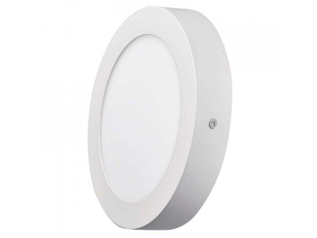 LED panel 12 W, krytí IP20 - pro vnitřní prostředí, rozměry: průměr 170 × 40 mm, náhrada za žárovku 70 W, svítivost 1 000 lm, 3 000 K, barva světla teplá bílá, kruhové svítidlo přisazené, materiál hliník/plast, bez PIR senzoru