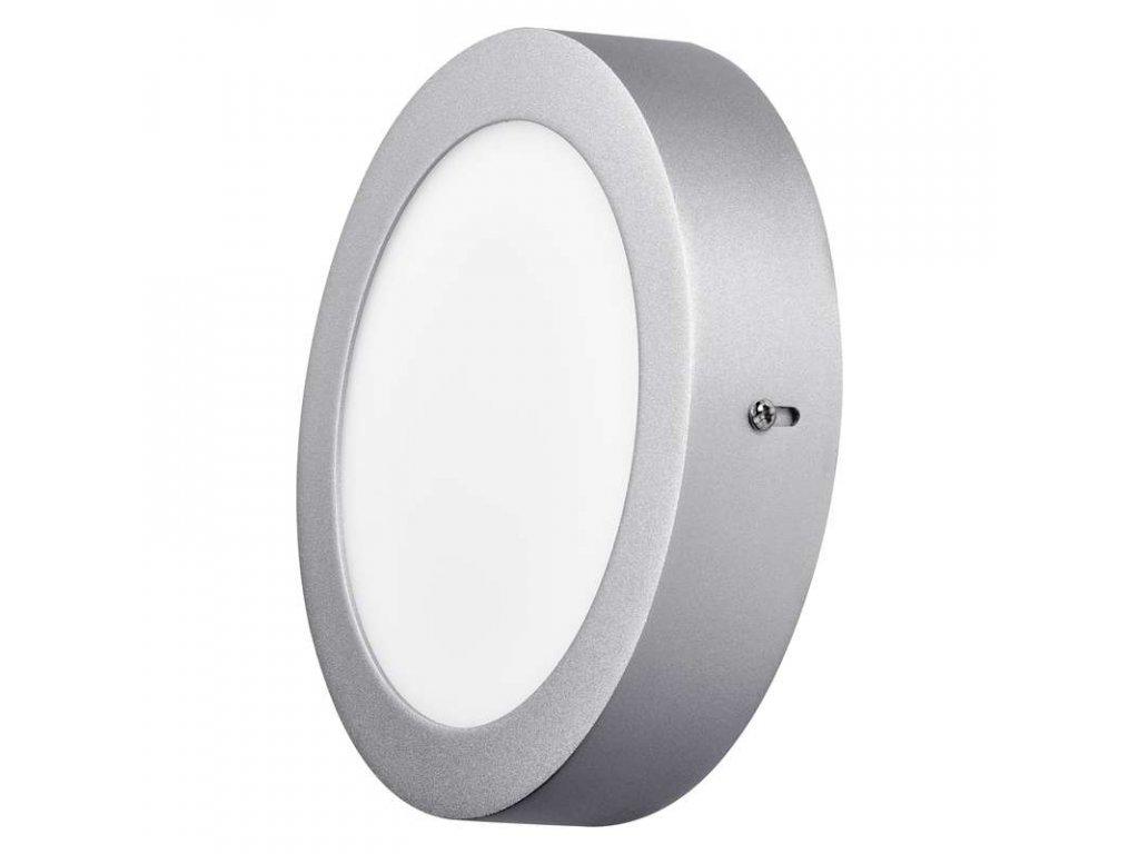 Stříbrný LED panel Emos PK 12W kruh přisazený neutrální bílá ZM5232