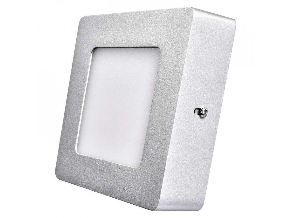 Stříbrný LED panel Emos PH 6W čtverec přisazený neutrální bílá ZM6222