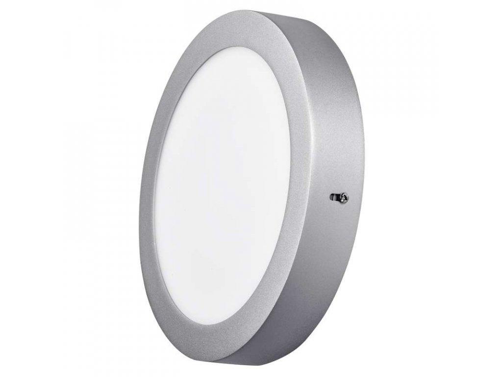 Stříbrný LED panel Emos PK 18W kruh přisazený neutrální bílá ZM5242