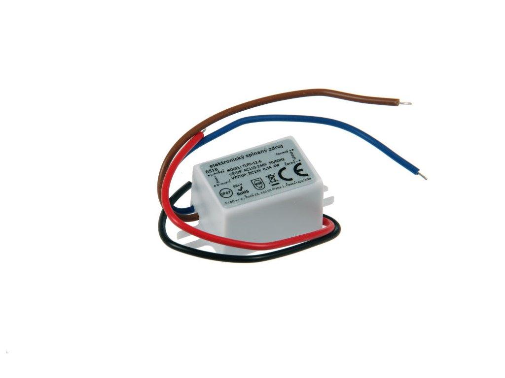 Nejmenší voděodolné trafo pro LED pásky osvětlení 12V 0,5A 6W Malý zdroj do montážní krabice pod vypínač zatěsněné proti vlhsti a prachu hořlavé materiály
