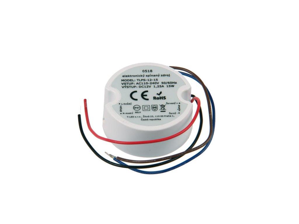 Nejmenší voděodolný napájecí zdroj pro LED pásky a osvětlení 12V 1,25A 15W Malé trafo do běžné montážní krabice pod vypínač, do krabičky pod omítku, malinké