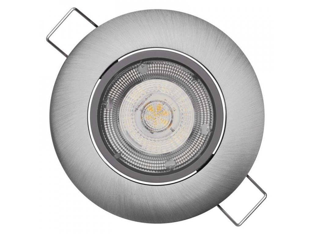 LED vestavné svítidlo 5 W, krytí IP20 - pro vnitřní prostředí, rozměry: průměr 80 × 25 mm, montážní otvor 68 mm, náhrada za žárovku 50 W, svítivost 450 lm, barva světla teplá bílá, 3 000 K