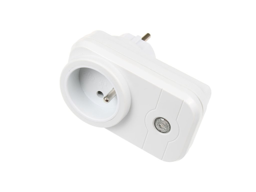 Spínací zásuvka 10 A, max. zatížení 2 200 W, pro spotřebiče 230 V, rozměry 100 x 60 x 43 mm