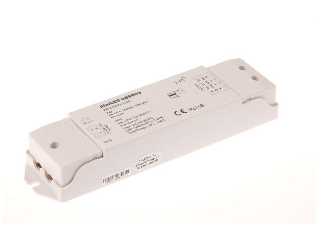 RF přijímač stmívač LED 3x1 A 100-240 V AC, maximální zatížení při 240 V 720 W, pro dálkové ovladače dimLED, pro RGB a jednobarevné LED pásky, rozměry 175 x 45 x 27 mm