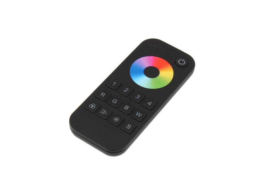 LED dálkový ovladač čtyřkanálový, RGBW radiofrekvenční ovladač dimLED, pro RGB a RGBW pásky, nový design a funkce, rozměry 107 x 58,5 x 9 mm, dosah ovladače až 30 m