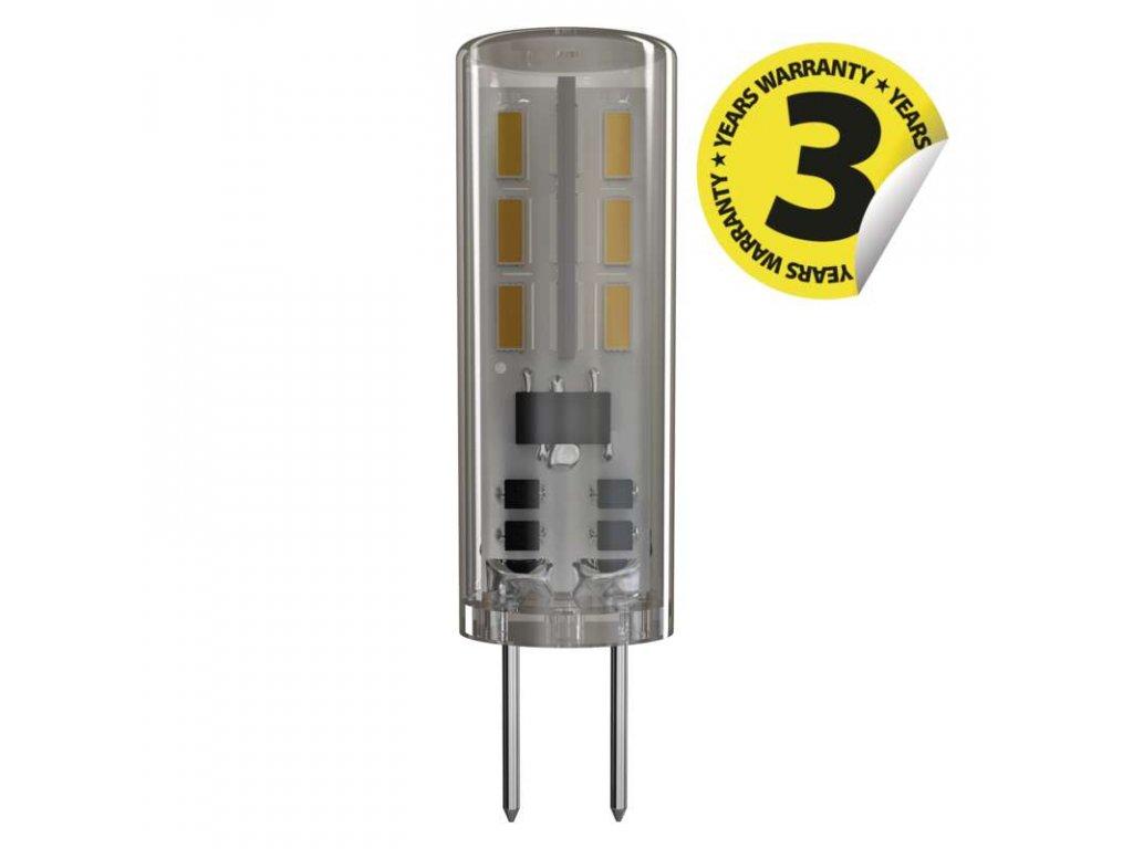 LED žárovka EMOS JC A++ 1,3W G4 denní bílá 12V ZQ8611 LED žárovka v kvalitě EMOS JC A++ s paticí G4 na 12V,  malá Miniaturní LED úsporná žárovka o výkonu 1-3W svítivost 110Lm a možností výběru barvy světla: 4100K neutrální denní bílá nebo 3000K teplá  bílá. Díky LED čipům do křížového tvaru se světlo rozpíná do 360°. TopLux osvětlení Praha, Libeň - skladem na prodejně