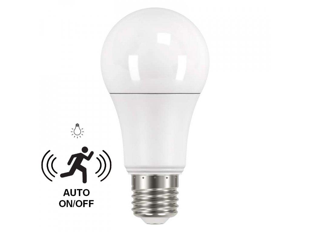 LED žárovka EMOS 9W E27 A60 se senzorem světla a HF senzorem, teplá bílá ZQ5140M