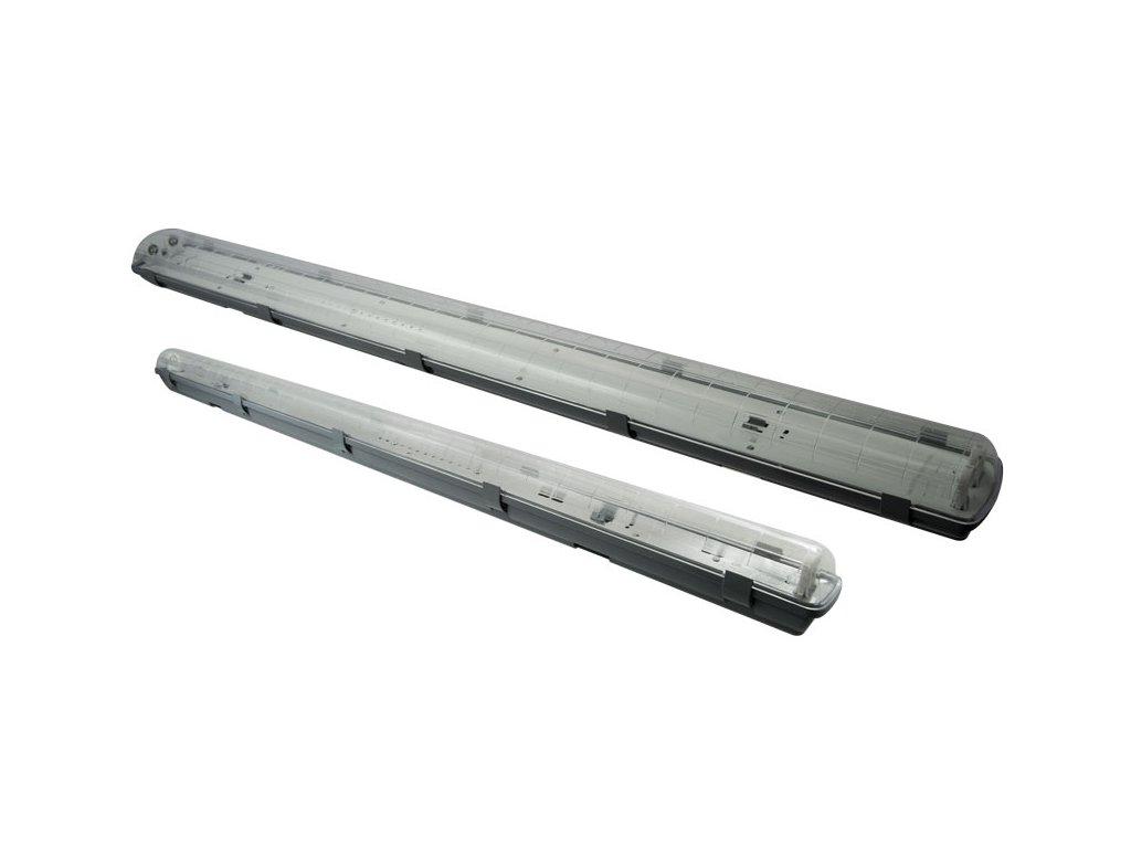 Prachotěsné svítidlo TopLux Praha  pro 2 led trubice T8 120cm s jednostranným napájením. Náhrada za dvouzářivky 2x36W 2x120cm