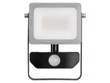 LED reflektor Emos ILIO 10W s pohybovým čidlem, krytí IP54, vhodný i do exteriéru, svítivost 800 lm, 4 000 K, barva světla neutrální bílá, materiál sklo/hliník, mechanická odolnost IK08, náhrada za žárovku 85 W. TopLux Praha skladem