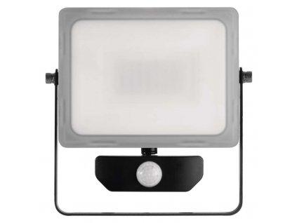 LED reflektor Emos ILIO 30W s PIR čidlem mléčný kryt IP44 ZS2930 vhodný i do exteriéru, svítivost 2400 lm, 4 000 K, barva světla neutrální bílá