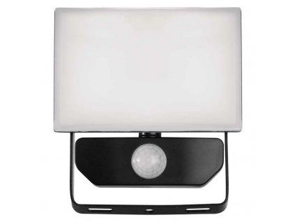 LED reflektor Emos TAMBO 10W s pohybovým čidlem, krytí IP54, vhodný i do exteriéru, svítivost 800 lm, 4 000 K, barva světla neutrální bílá, materiál sklo/hliník, mechanická odolnost IK08, náhrada za žárovku 85 W. TopLux Praha skladem