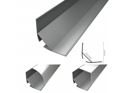 R15 stříbrný široký rohový hliníkový profil 30x30mm - 2m chladící LED ALU lišta pro LED pásek se sklonem 45°. Skladem na Toplux.cz, ihned k odeslání