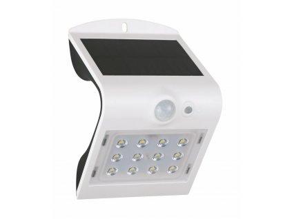 Venkovní fasádní solární LED svítidlo s čidlem pohybu a senzorem setmění 1,5W bílé. LED bezdrátový designový reflektor s podsvícením, výměnná baterie. Vhodné na balkony, terasy a zahrady. IP65 venkovní použití vodotěsné.  TopLux Praha.