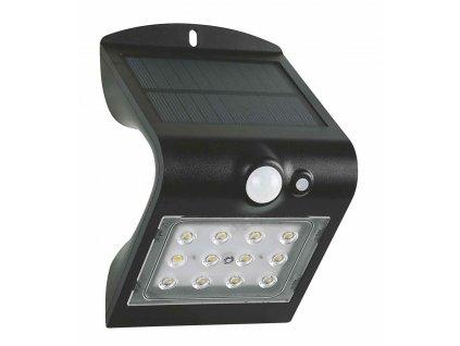 Venkovní fasádní solární LED svítidlo s čidlem pohybu a senzorem setmění 1,5W černé GXSO005 LED bezdrátový designový reflektor s podsvícením, výměnná baterie. Vhodné na balkony, terasy a zahrady. IP65 venkovní použití vodotěsné.  TopLux Praha.