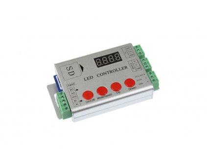 Digitální ovladač pro ovládání digitálních LED pásků. Ovladač disponuje možností nahrání módu na SD kartu který se následně promítají do LED pásku. K dispozici jsou i již nahrané módy. Ovladače také lze mezi sebou synchronizovat přes vstupy a výstupy viz. návod. SD karta je součástí ovladače. Nízká cena. TopLux skladem Praha.