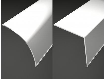 Difuzor ALU profilu R15 rohový široký cena 120 Kč/m, kryt hliníkové lišty pro LED pásky, kulatý/hranatý, mléčný opál.