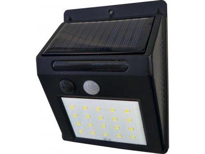Venkovní fasádní solární LED svítidlo 3W bílé. LED bezdrátový designový reflektor s podsvícením, výměnná baterie. Vhodné na balkony, terasy a zahrady.  TopLux Praha.