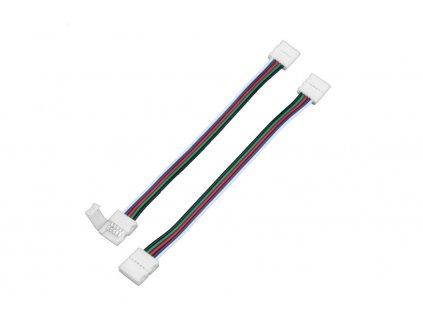RGBW spojka click 10mm s kabelem Spojka s kabelem pro LED RGBW pásek o šířce 10 mm. Rozměr jedné kostičky u spojky je 14x15mm. Délka spojky včetně kabelu je 17cm. Maximální proudové zatížení 5A. 112123