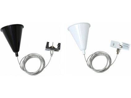 Závěsné lanko 3F TRACK Light pro třífázovou lištu bílé/černé s kloboučkem