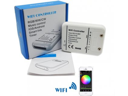 SMART WiFi LED ovladač RGB+WW+CW+CCT pro LED pásky na 12 a 24W 06330