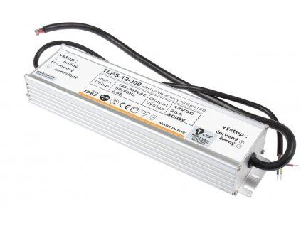 LED trafo TLPS-12-300 zalité 12V 25A (300W) - napájecí zdroj venkovní IP67 vodotěsné provedení. Kvalitní kovové provedení zatěsněné proti vlhsti a prachu.  TopLux Osvětlení Praha skladem na prodejně nízké ceny