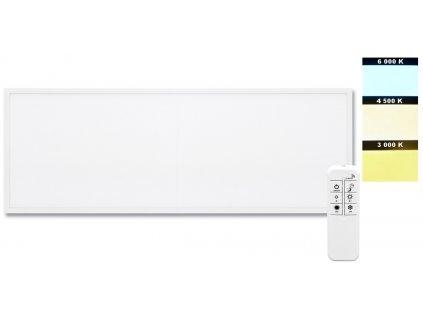 Vestavný LED panel ZEUS 30x120cm určený primárně montáž do rastrových stropních podhledů Stmívatelný zdroj je součástí balení s dálkovým ovladačem Bi-Color