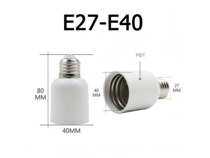 adaptér z klasického velkého závitu E27 na extra velký E40 rozměry