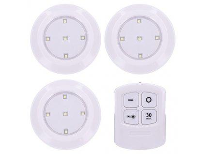 Sada 3x LED světélka s dálkovým ovládáním a časovačem na 3x AAA baterie WL906 EAN: 8592718022976 Je potřeba osvětlit knihovnu, šuplik, skříňku či kuchyňskou linku - žádný problém! Jedno světélko je na 3x AAA baterie a lze ho zapnout / vypnout manuálně zmáčknutím svítidla, nebo pomocí dálkového ovladače na 2x AAA baterie. Pomocí ovladače lze svítidlo rozsvítit na 50% či 100%. Také je na dálkovém ovladači funkce časovače, který vypne světélko za 30min. TopLux Osvětlení Praha, Libeň - Sokolovská ulice
