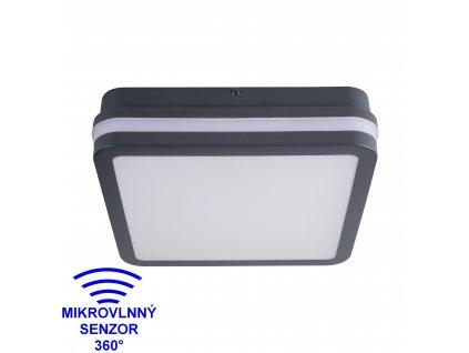 LED nástěnné venkovní svítidlo BENO 18W NW-L-SE  4000K s HF senzorem hranaté grafitové IP54 32947