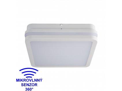 LED nástěnné venkovní svítidlo BENO 18W NW-L-SE 4000K s HF senzorem hranaté bílé IP54 32946