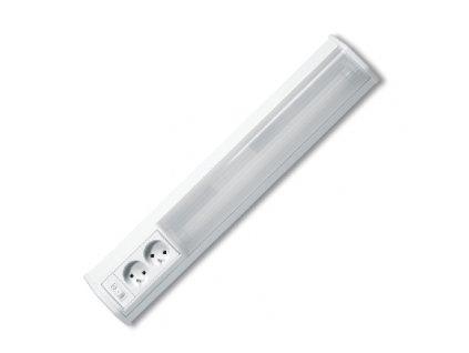Zářivkové kuchyňské svítidlo ROSA 15W o délce 60cm je vhodné pro podsvícení kuchyňské linky, prodejních pultů a výloh. Je vyrobeno z hliníku a plastu. ROSA od firmy Ecolite je kompletní svítidlo se zdrojem, vypínačem, elektronickým předřadníkam a součástí balení je i trubice T8 10W 600mm o průměru 26mm. Určeno pro vnitřní použití. Kabel není součástí dodávky, svítidlo je určeno pro připojení na vyvedený kabel(220-240V) ze zdi pod skříňkami kuchyňské linky.  Hlavním znakem a výhodou svítidla ROSA jsou dvě zabudované zásuvky.  Nabízíme také varianty 10W(50cm), 15W(60cm) a 18W(75cm).