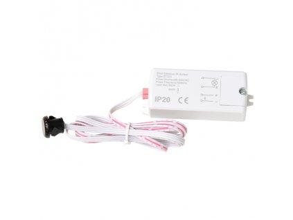 ECOLITE skříňový spínač nábytkový s IR senzorem překážky na 230V pro LED zařízení a pásky EST123-BI EAN: 8590849528619 Senzor na krátkou vzálenost, senzor funguje  na systému překážky před senzorem, pokud se překážka odstraní, senzor zapne průchod napájení v ovladači a zapne připojené zařízení, pokud se překážka vrátí zpět před senzor,  připojené zařízení se vypne. Stupeň krytí je IP20 - určeno pro vnitřní použití.