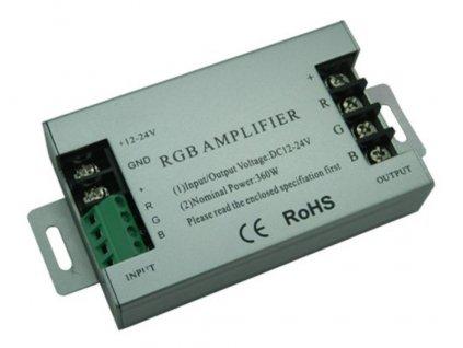 Zesilovač RGB barevných LED pásků na 12V/24V, posílení signálu pro větší zátěž LED ovladačů a přijímačů, zapojení na DC a svorkovnice, kovové saši, tříkanál