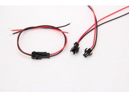 Spojovací sada s kabelem pro jednobarevné LED pásky s dvoupinovým konektorem 11213 EAN: 1100000112136 Maximální proudové zatížení 5A (12V = 60W / 24V = 120W) Průměr drátu: 0,19mm Délka sady: cca 28 cm