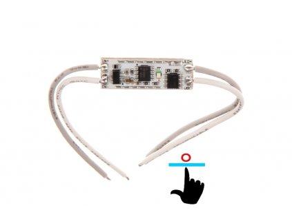 LED stmívač do profilu GT8A pod sklo a zrcadlo 061224 Dotykový ovladač pod sklo, zrcadlo, Pro jednobarevné LED pásky, Max. zatížení: 12V = 96W, 24V = 192W, Rozměry 10 x 30 mm