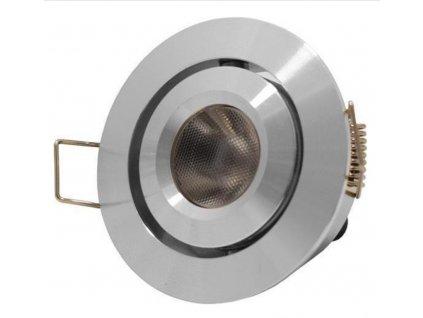 Výklopná bodovka nábytková hliníková stříbrná 12V 3W teplá bílá nebo studená bílá, napojení na trafo zdroj. Průměr 50mm úzký úhel svitu. LED svítidlo USA
