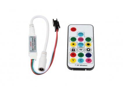 LED přijímač a dálkovýovladač pro programovatelné LED diody PIXEL RGB barevné pásky digitální RF DG17 a DC konektorem (samice) 063503 vnitřní použití IP20