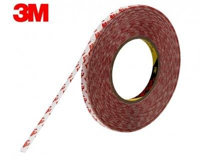 Oboustranná lepící páska značky 3M, s kvalitním lepidlem, 9,5 metrů na kotouči, šířka 9mm - na podlepení LED pásků 8mm a 10mm. Průhledná tenká lepící páska