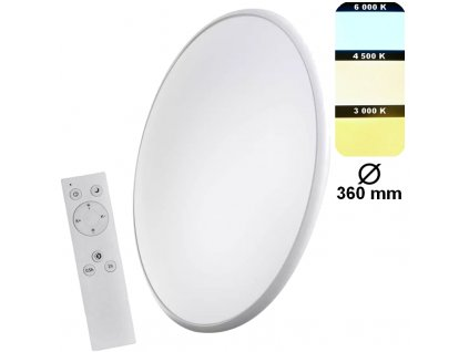 Stmívatelné kruhové přisazené na strop či stěnu na dálkové ovládání, možnost měnit barvy světla a zapnutí nočního dekorativního osvětlení EMOS CCT Bi-Color