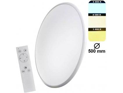 Stmívatelné kruhové přisazené na strop či stěnu na dálkové ovládání, možnost měnit barvy světla a zapnutí nočního dekorativního osvětlení EMOS CCT ZM5166