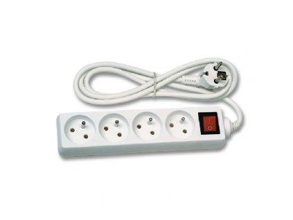 Prodlužovací kabel 1,5metru 4zásuvky s vypínačem bílá barvy