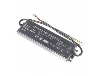 Kvalitní LED spínaný napájecí zdroj slim UTD 12V 150W 12,5A pro LED pásky voděodolné trafo IP67 venkovní zalité 056302 - záruka 5 LET