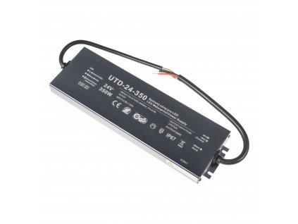 Kvalitní LED spínaný napájecí zdroj slim UTD 24V 350W 14,5A pro LED pásky voděodolné trafo IP67 venkovní zalité 056356 - záruka 5 LET