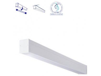 Stropní přisazené bílé lineární svítidlo pro LED trubici 120cm kancelářské podlouhlé světlo