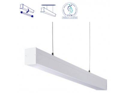 Závěsné bílé LED zářivkové svítidlo do kanceláře prodejny obchodu nad stůl