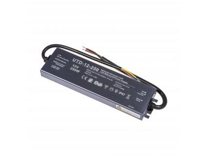 Kvalitní LED spínaný napájecí zdroj slim UTD 12V 250W 21A pro LED pásky voděodolné trafo IP67 venkovní zalité 056304 - záruka 5 LET