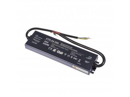 Kvalitní LED spínaný napájecí zdroj slim UTD 24V 250W 10,5A pro LED pásky voděodolné trafo IP67 venkovní zalité 056354 - záruka 5 LET